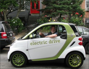 Driving the Smart EV in Brooklyn.